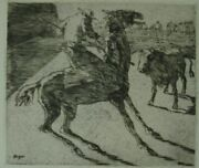 Stierkampf. Torrero On The Horse Before A Bull, In The Background Viewers Hint