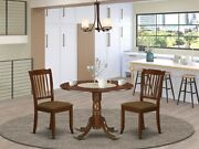 3pc Dublin Dinette Set Round Pedestal Kitchen Table W/ 2 Padded Chairs Mahogany