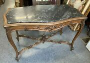 Antique Victorian Carved Walnut Marble Top Parlor Center Table