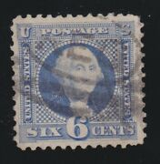 Us 126 6c Washington Re-issue Used Vf With 2 Pse Certs Scv 3000