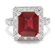 8.05 Carats Natural Red Ruby And Diamond 14k Solid White Gold Ring