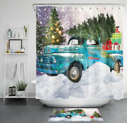 Christmas Rustic Truck Xmas Tree Gift Shower Curtain Sets Bathroom Decor And Hooks