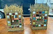 Pair Of Antique Victorian Hanging Chunk Jeweled Light Fixtures