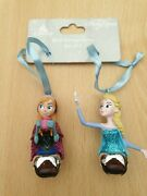 Genuine Disney Parks Frozen Anna And Elsa Hanging Christmas Decorations.