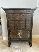 2 Matching Korean Antique Style 1930andrsquos - 24 Drawer Apothecary Chest