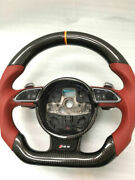 Flat Bottom Sport Style Carbon Fiber Car Steering Wheel For Audi Rs4 Rs5 Rs6 Rs7