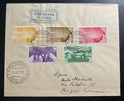 1935 Rome Italy Airmail Cover To Bengasi Complete Stamp Set C79-c83 Cv 621.50