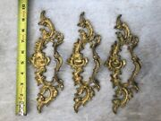 Three 3 French Lage Gold Fancy Pull / Handles For Cabinets / Furniture