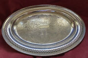 Fantastic Old Antique Oval Silver Plate On Copper Sheffield Chased Tray