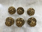 Six 6 Gorgeous French Gold Rosettes / Knobs For Cabinet / Furniture