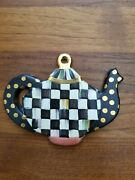Mackenzie-childs Chubby Teapot Ornament - Courtly Check And Gold Dot Accents