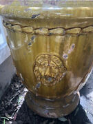 Le Chene Vert Anduze Yellow Garden Planter W/ Lion Face See 2nd Pic True Color