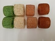 Hand Beaded Napkin Rings - Glass Beads, Wire Beaded - Set Of 8
