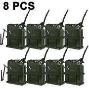 8pcs Jerry Can Fuel Steel Tank Military Army Backup 20l 5 Gallon With Holder