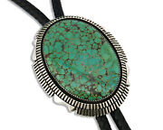 Navajo Bolo Tie .925 Silver Large Spiderweb Turquoise Artist Begay C.90and039s