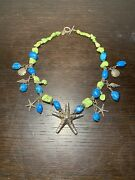 Vintage Sterling Silver Beach Necklace W/starfish Shells Stones And Sand Dollars