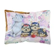 Caroline Yorkie Puppies Three In A Row Decorative Canvas Fabric Pillow, Large...