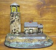 Lighthouse And Keepers Home Antique Cast Iron Figural Doorstop Nautical Seaside