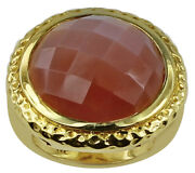 Multi-color Peach Moon Stone Gemstone 10k Gold Ring   A Precious Gift For Her