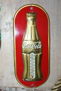 1936 Vintage Coca-cola Gold Bottle Shaped Tin Thermometer Patand039d December 25 1923