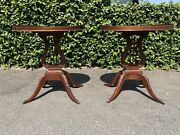 Set Of 2 Vtg Mersman Styled Mahogany End Tables Lyre Base Claw Feet Lamp Table