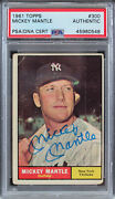 Yankees Mickey Mantle Authentic Signed 1961 Topps 300 Auto Card Psa/dna Slabbed