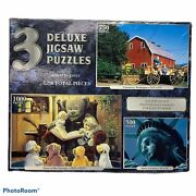 Sure-lox 3 Deluxe Jigsaw Puzzles 2,250 Pieces New
