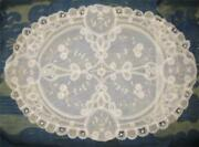 Vintage Princess Brussels Lace Tulle Boudoir Pillow Large Oval Handmade Minty