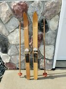 Vintage Antique Kids Withington Wooden Skis And Red Poles 40andrdquo W/ Label Cabin Decor