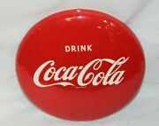 1950and039s Vintage Coca-cola Tin Round Button Drink Coke In Bottles 12