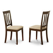 Set Of 2 Chairs Anc-cap-c Antique Dining Room Chair For Kitchen With Cushion ...