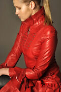 Womenand039s Red Corset Leather Dress Coat Jacket In Victorian Style Costume Impero