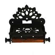 Wall Mount Toilet Paper Holder In Black English Cast Iron Fan Top Antique Style