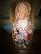 Antique Palitoy Cascelloid Celluloid Doll 55 Quilted Jacket Made In England