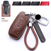 Genuine Leather Car Smart Key Cover For Ford Lincoln Accessories Chain Case Fob