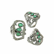 Emerald Diamond Pave Vintage Style Ring 925 Silver Handmade Jewelry Gifts Jp