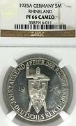 Germany Weimar Republic 1925a 5 Mark 1000 Years Thaler Ngc Pf 66 Cameo Top