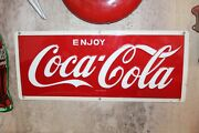 1950s Original Coca-cola Metal Embossed Advertising Sign Reflective Style