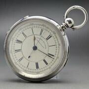 Coventry Lever Watch Compan Antique Pocket Watch Sterling Silver 1890and039s 62mm