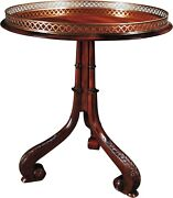 Scarborough House Occasional Table Crotch Mahogany Elegant Brass Gallery