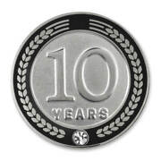 Pinmart's 10 Years Of Service Award Employee Recognition Gift Lapel Pin - Black