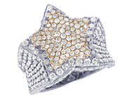 Menand039s 10k Two-tone White/rose Gold Real Diamond 3d Super Star Ring 4.55 Ct 24...