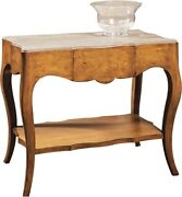 Table Port Eliot Swedish Aged Pine Wood Marble Top Swept Legs Shaped Tier