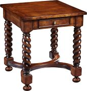 Scarborough House Square End Table Handcrafted Distressed Barley Twist Le