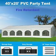 Pvc Party Tent 40and039 X 20and039 White - Fire Retardant Fr - Heavy Duty Wedding Canopy