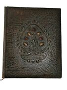 Huge Old Vintage Artisan Brown Leather Bound Book Notebook Hard Covers Pagan