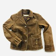 Rizal Womens 38 Brown Leather 3 Button Jacket