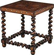 Scarborough House Side Table Hand Planed Distressed Country Square Twist