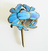 Qing Dynasty Kingfisher Feather Hair Pin Chinese Antique Vintage Tian-tsui 點翠
