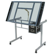 Drawing Desk Station Tempered Glass Adjustable Drafting Table W/ 4 Wheels Home